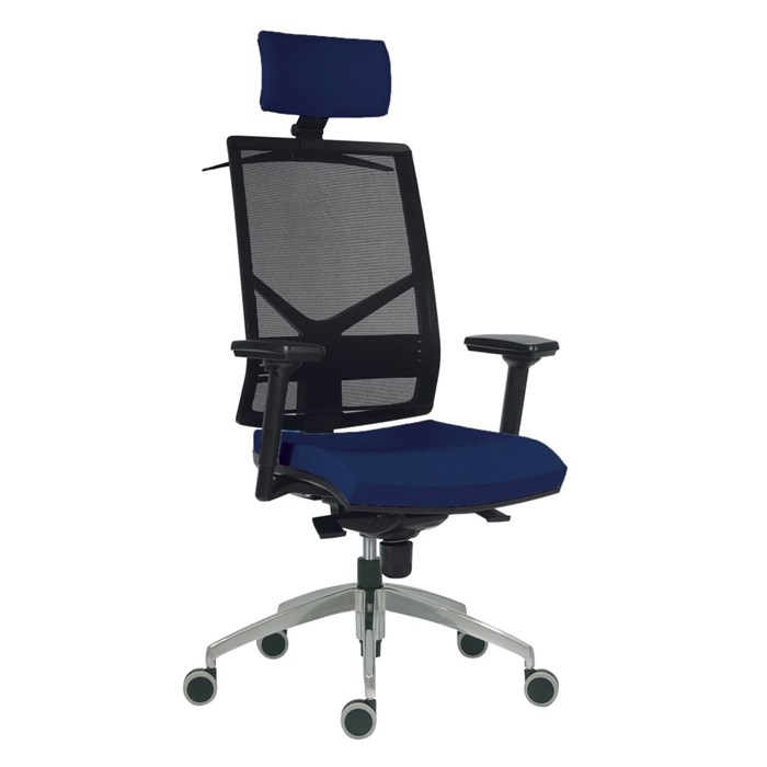 ANTARES Kancelářská židle Antares 1850 SYN OMNIA - modrá s područkami a opěrkou hlavy