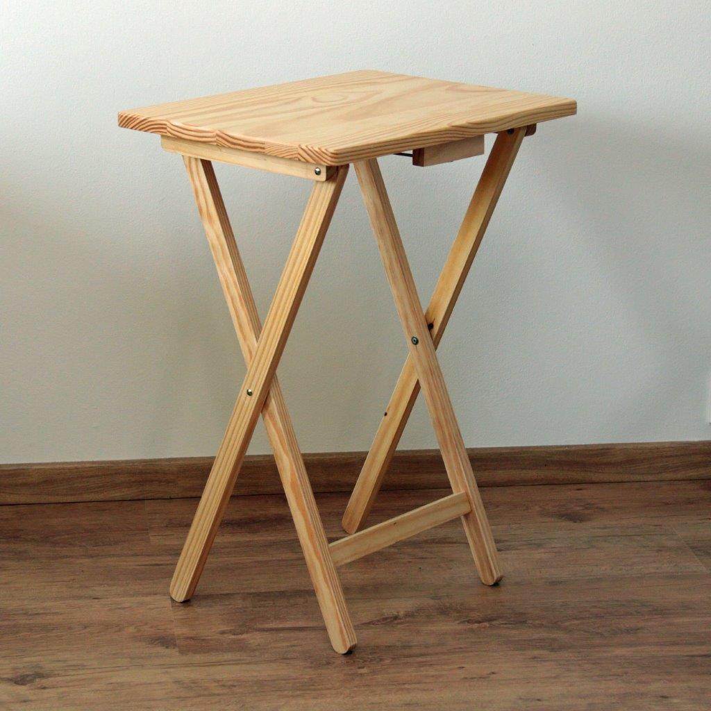 SUPERDISKONT Skládací stolek dřevěný, přírodní SD123